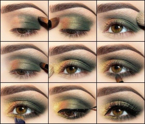 evening makeup green shadows