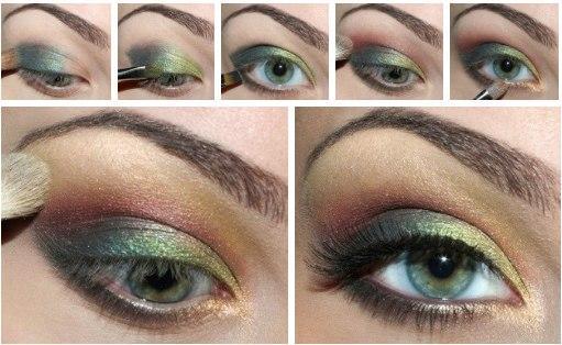 eye makeup green shadows