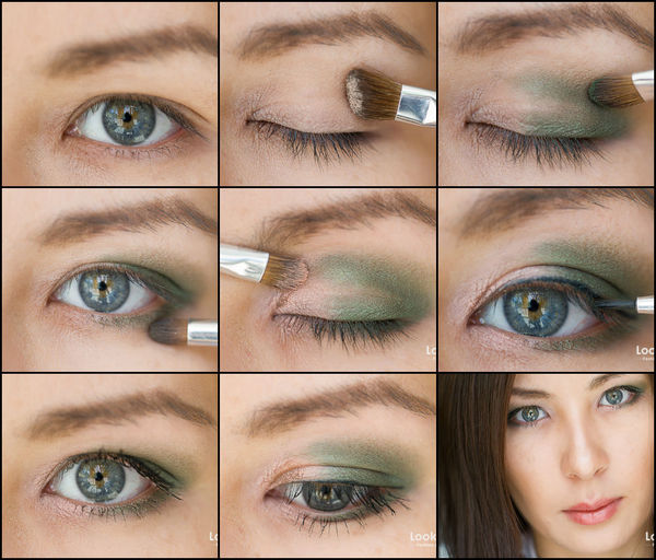 light makeup green shadows