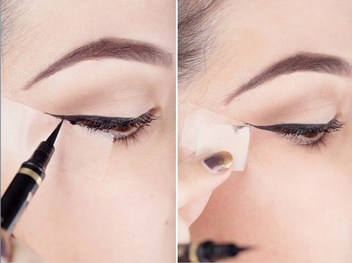 How to draw a perfect eyeliner using Scotch tape makeover.
