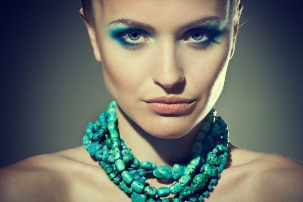 girl with turquoise beads