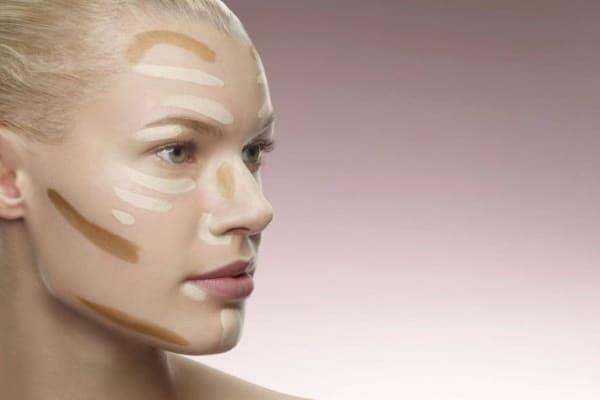 Затемнить области на лице